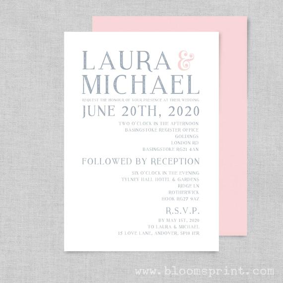 Blush and grey wedding invitations, Wedding invitation template, Modern wedding invitation printable, Wedding invites PDF, Minimalist