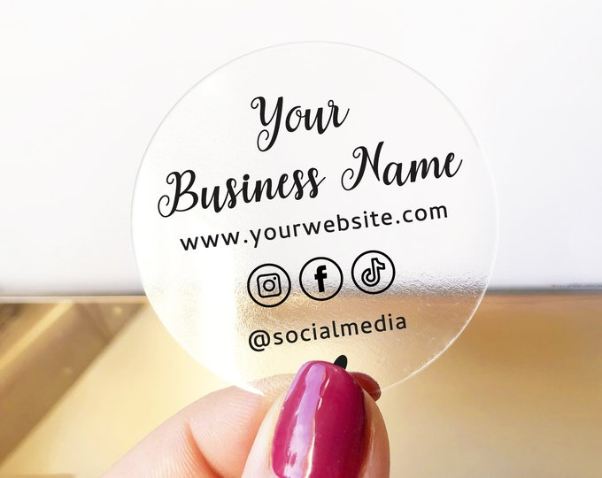 Personalized Clear Business Logo Labels, Custom Transparent Sticker Sheets, Business Branding Decals