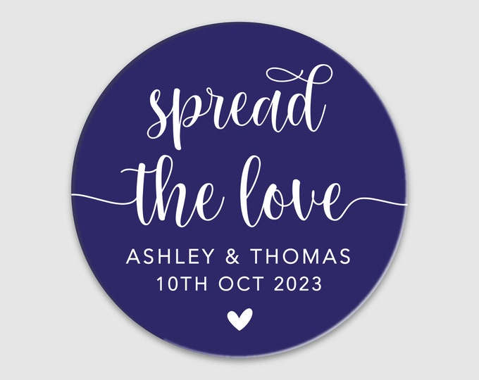 Spread the love wedding jam favor thank you labels stickers, Wedding jam labels,  Custom name honey labels stickers, Product labels