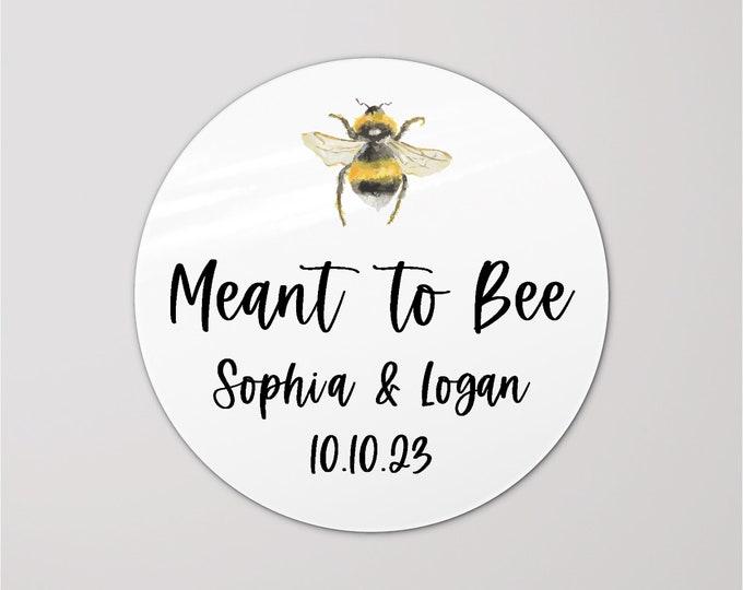 Wedding favor sticker sheet custom labels meant to bee wedding stickers, Custom honey labels, Bee sticker labels for jars
