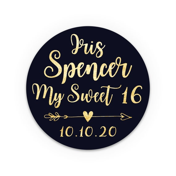 Sweet sixteen stickers, Personalised birthday stickers, Stickers for party favor bags, Thank you stickers, Birthday sticky labels for jars
