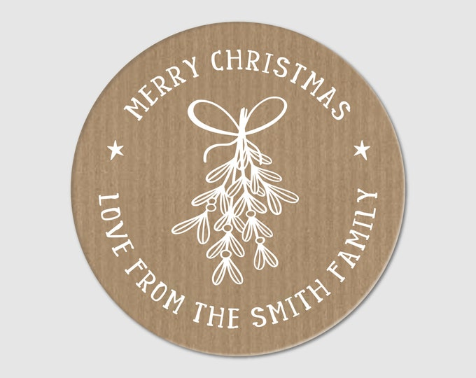 Merry Christmas Stickers Tags Round Christmas Signs Name Tags Jam Jar Labels Custom Tags for Handmade Items Labels Stickers Kitchen Gifts
