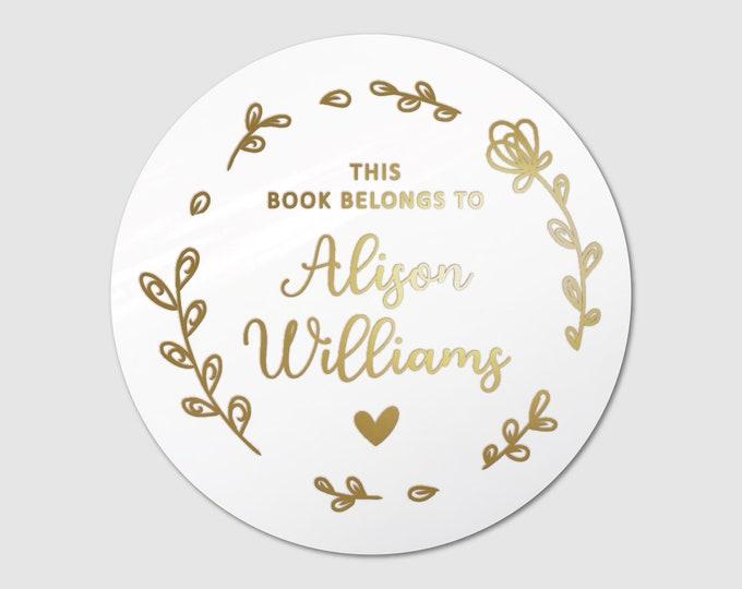 Custom book lover gift book teacher name clear stickers sheet, Personalized sticker sheet, Book club decal, Round teacher stickers