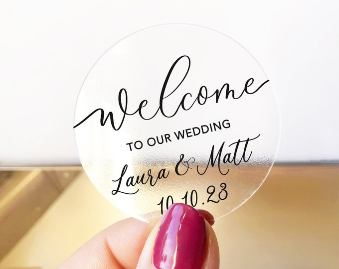 Welcome wedding stickers for favours, Personalised wedding sticker labels, Custom favor sticker, Wedding favour ideas, Round stickers