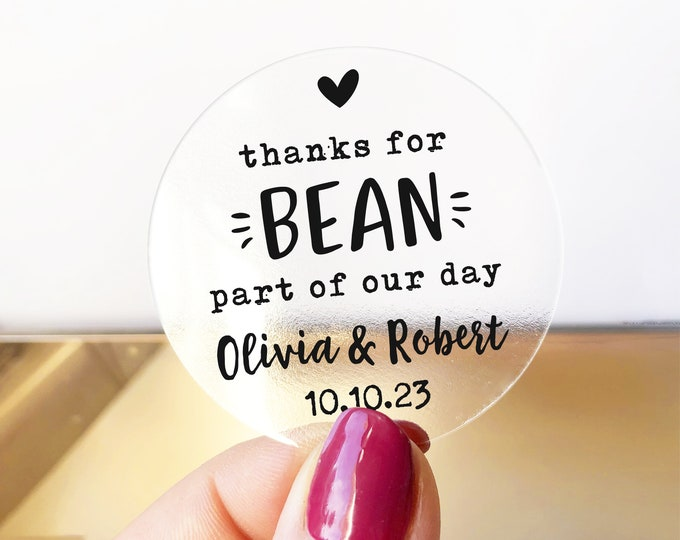 Custom wedding favor thank you round clear coffee stickers, Wedding sticker sheet, Thanks for bean here stickers