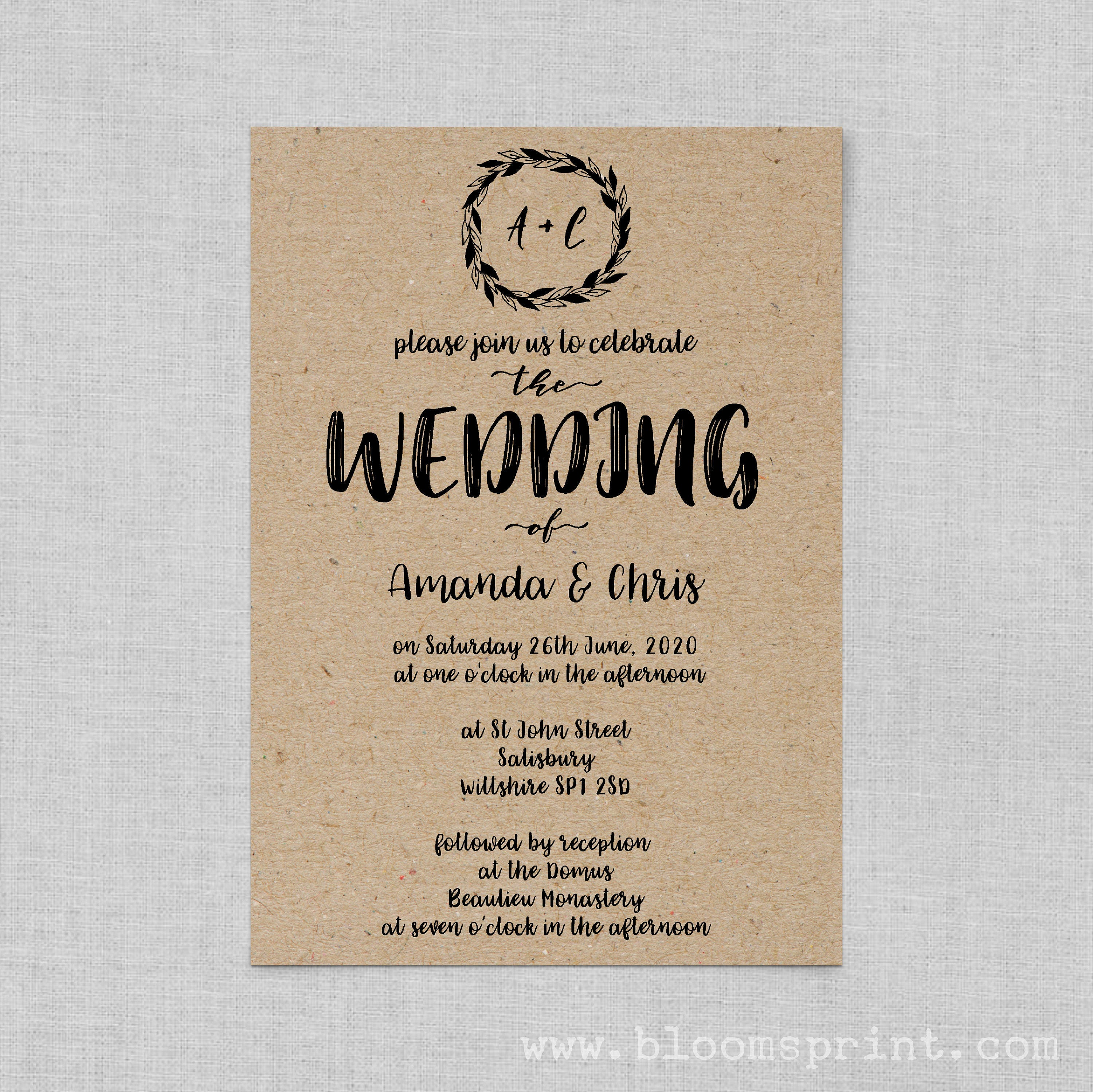 Boho wedding invite set Classic wedding invitation rustic Kraft