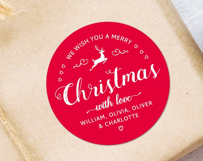 """Personalized Custom """"Merry Christmas"""" labels stickers, Merry christmas stickers for cards, Christmas labels personalized, Present labels"""