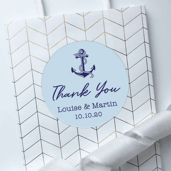 Custom stickers for party favors, Thank You Stickers, Anchor Stickers, Wedding stickers for favours, Nautical wedding favors, Party stickers