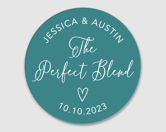 The perfect blend wedding thank you clear tea coffee stickers, Coffee tea gift stickers, Personalized sticker, Party favor sticke