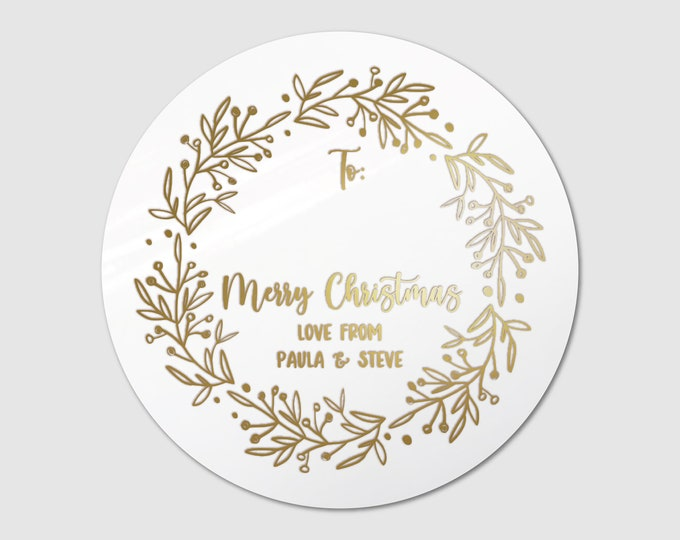 Christmas wreath sticky gift tags stickers sheet pack, Personalized christmas present sticker, Custom name stickers, Gold foil stickers