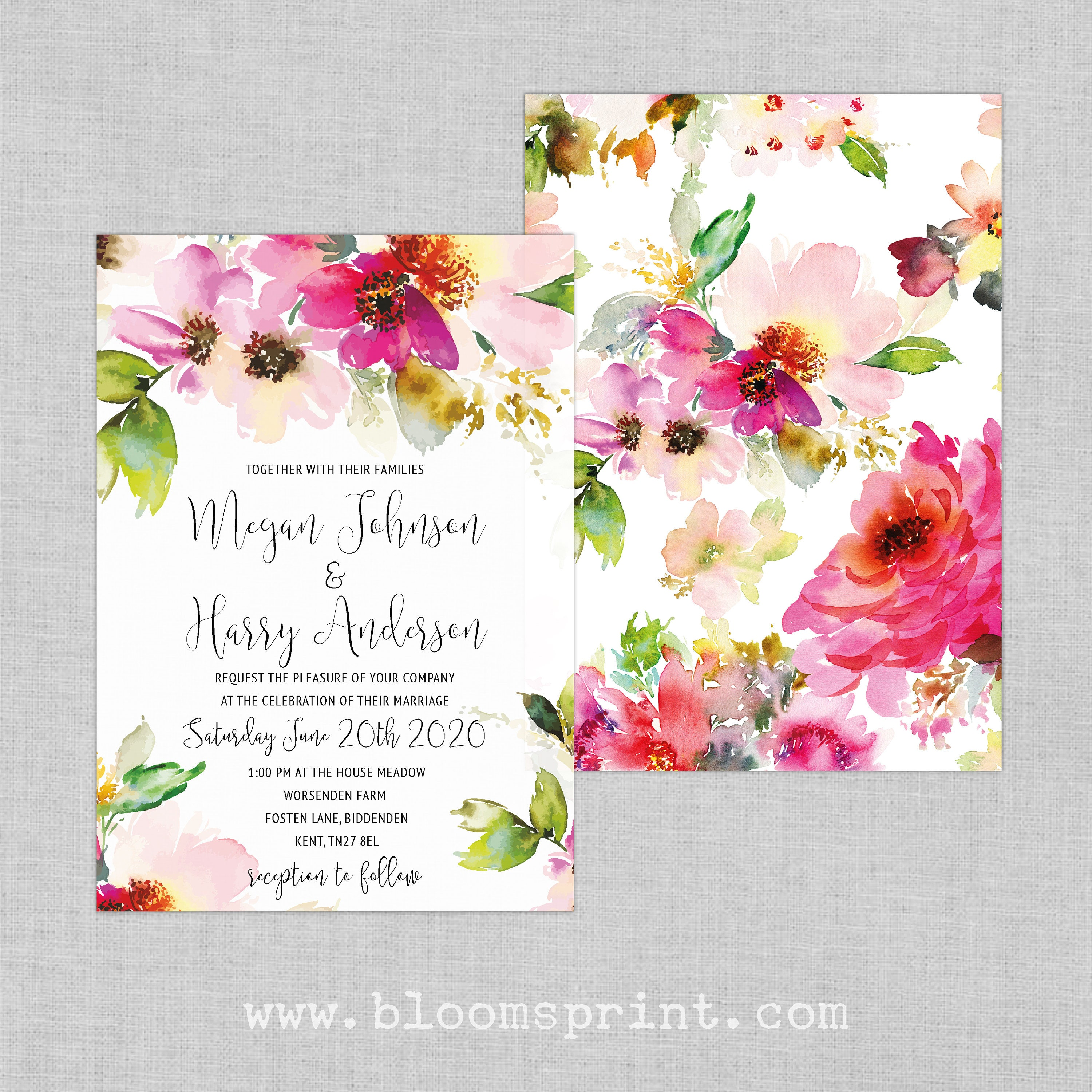 Watercolor wedding invitation template, Bohemian floral wedding ...