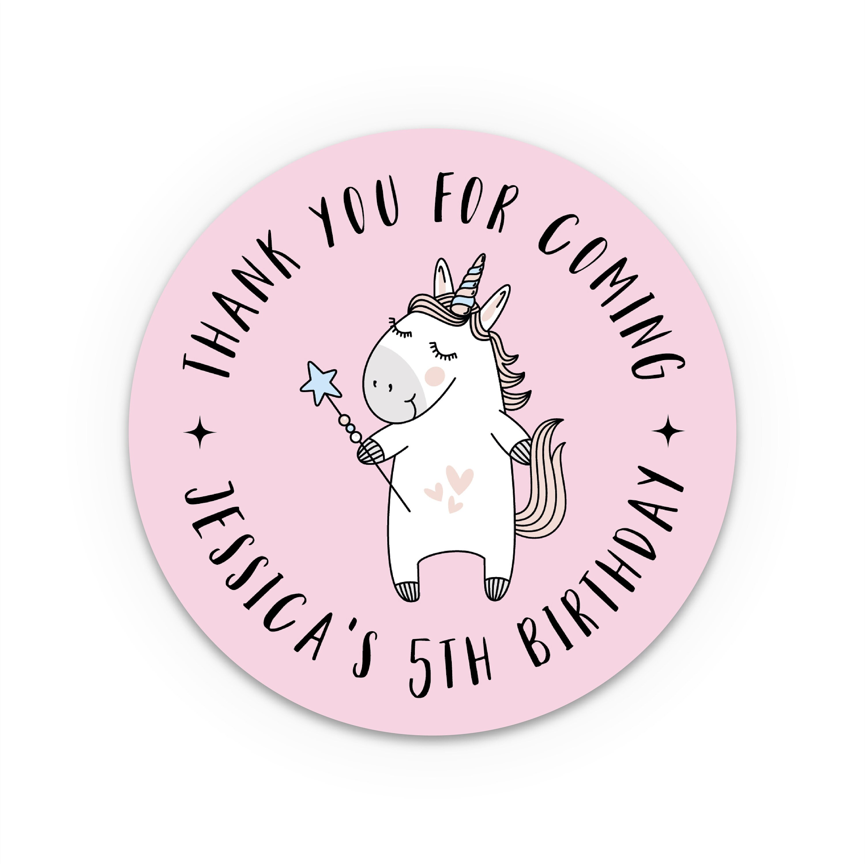 Unicorn birthday stickers party favor sticker personalised round sticker kids birthday sticker custom stickers thank you stickers