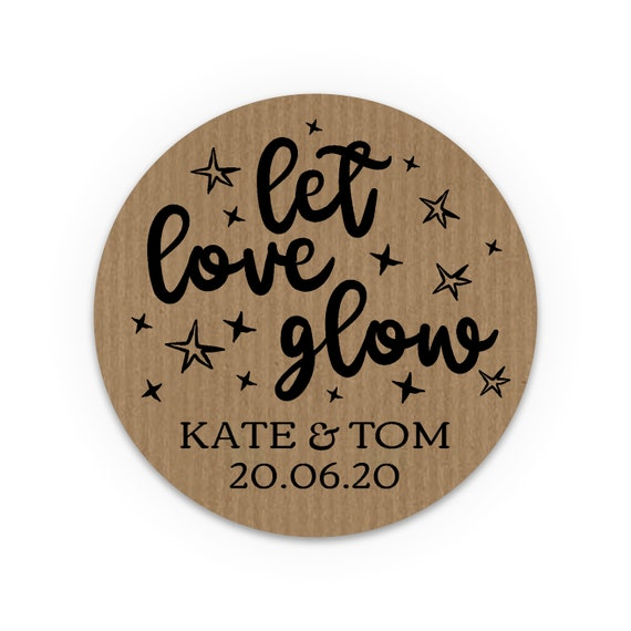 Custom wedding stickers and labels, Let love glow stickers, Stickers for candle jars, Wedding stickers personalized for favors