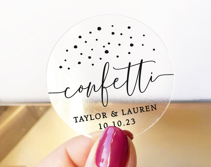 Wedding custom confetti round clear labels stickers sheet, Wedding stickers for favors, Gold foil stickers, Transparent stickers