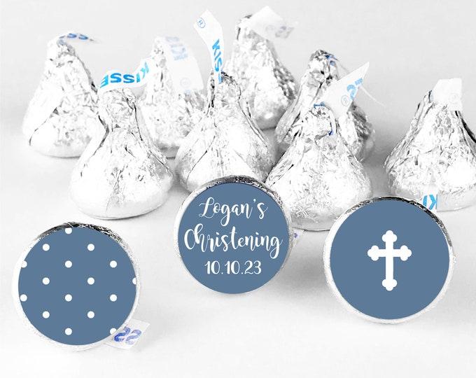 Custom thank you christening hershey kiss round candy stickers, Custom stickers for hershey kisses, Chocolate thank you stickers