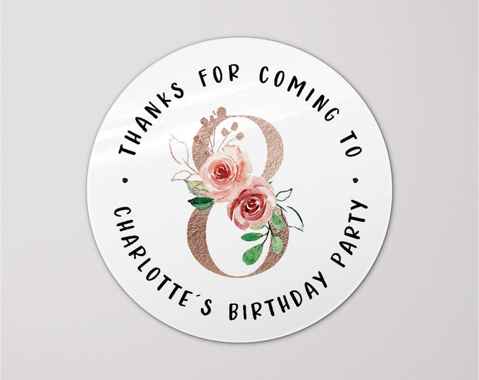 Custom happy first birthday round thank you labels stickers, Goodie bag kids birthday, Custom name stickers, Favor bag stickers