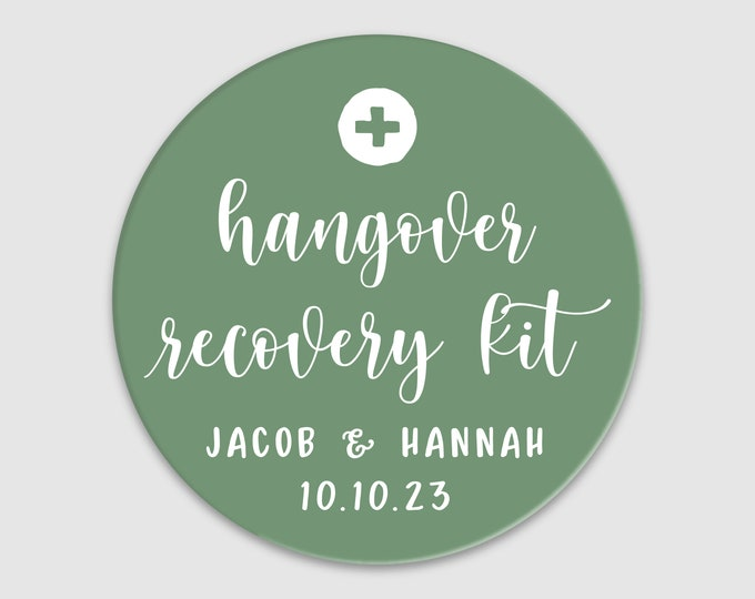 Personalised custom hangover kit wedding favor labels stickers, Custom wedding stickers party favour labels, Hangover kit labels