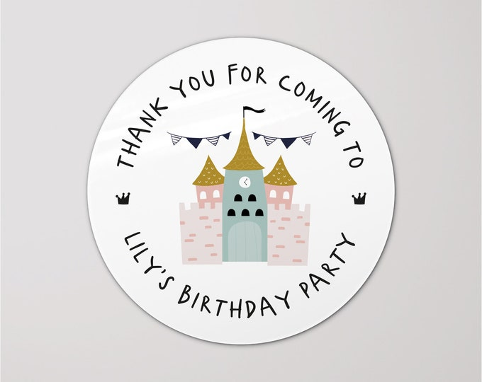 Happy birthday round favors party stickers thank you for coming to my party stickers, Goodie bag kids birthday, Favor bag stickers