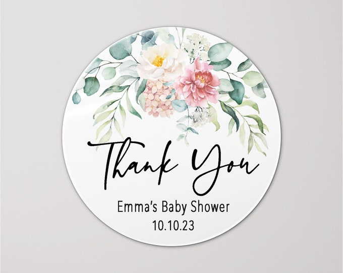 Thank you for coming to my baby shower stickers, Baby shower labels, Personalised party favor stickers, Mason jar Kraft sticker - BS01