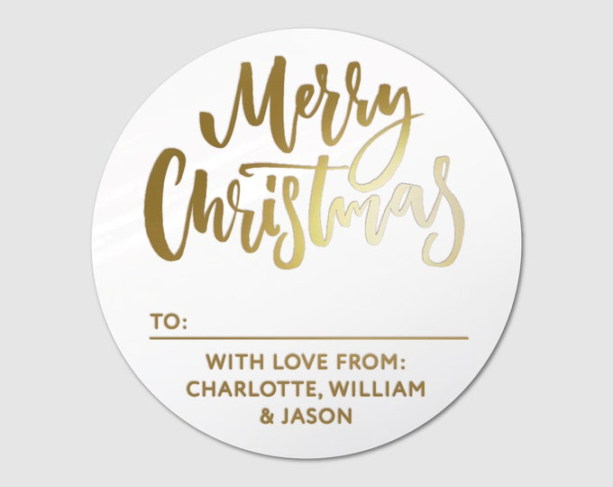 Custom Christmas round circle labels stickers pack, Merry Christmas labels, Merry Christmas stickers for cards, Personalised sticky labels