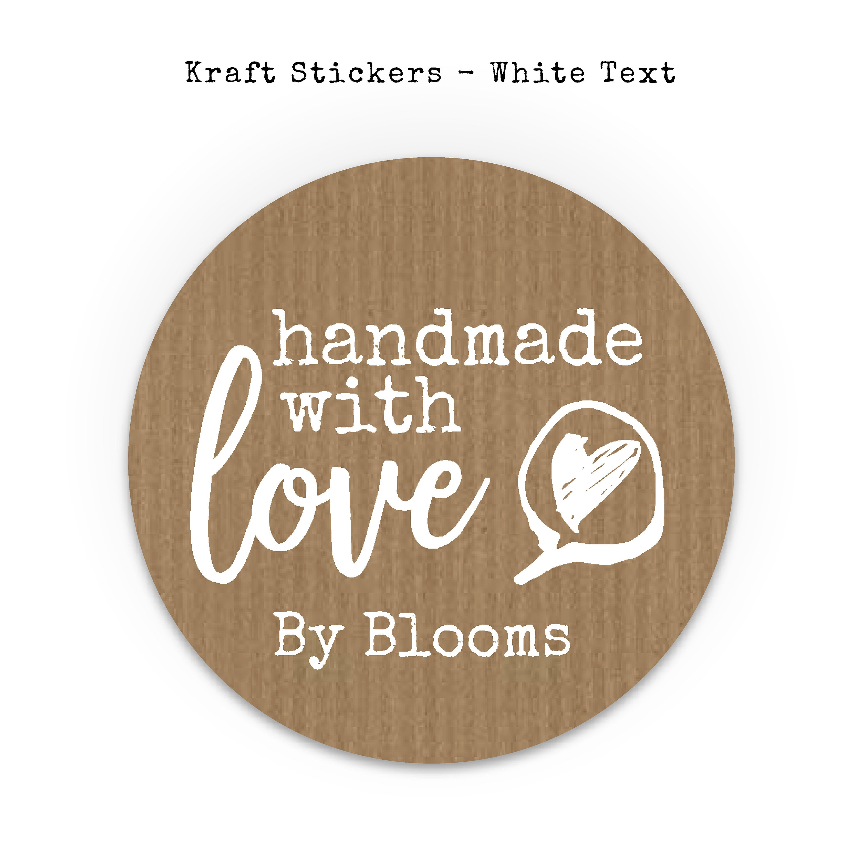 Handmade with love stickers sheet custom sticker labels personalised sticker made with love stickers round kraft paper stickers