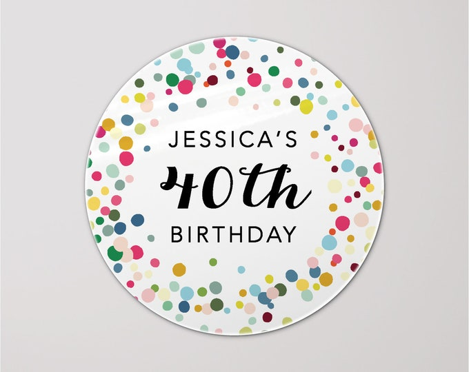Thank you for coming to my party stickers custom birthday stickers, Gift bag stickers, Rainbow circle stickers, Party favor stickers