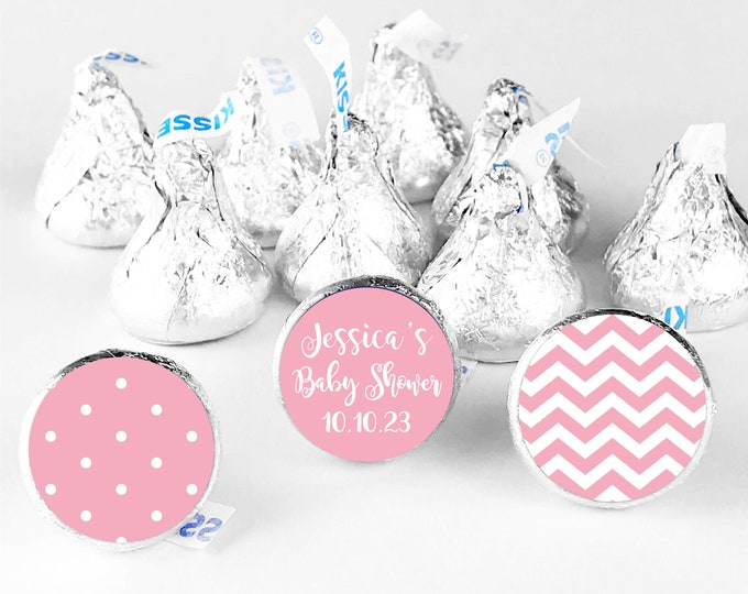 Baby bridal shower custom thank you favors stickers labels, Hershey kisses sticker, Hershey kiss baby shower stickers