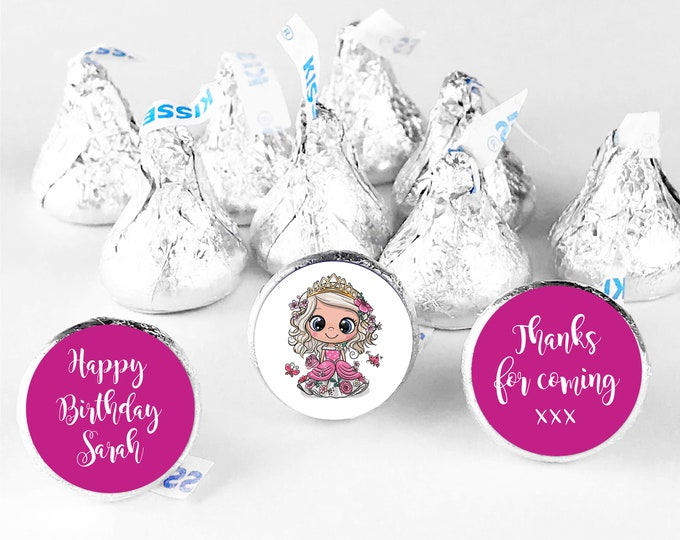 Personalized princess happy birthday thank you candy stickers, Thank you for coming to my party stickers