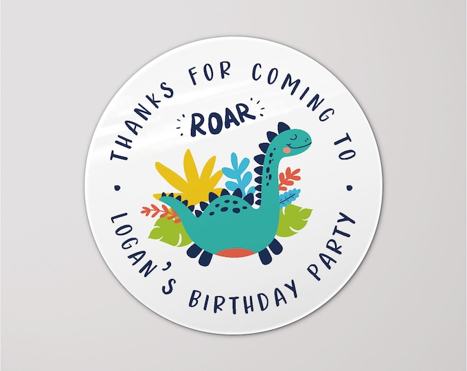 Dinosaurs party favors stickers for 1st birthday, Dinosaurs sticker labels, Boys party favour labels, Custom labels stickers