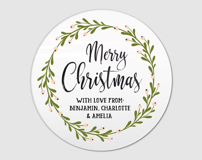 Christmas wreath custom name labels stickers sheet pack, Christmas stickers and labels, Christmas gift stickers, Xmas stickers