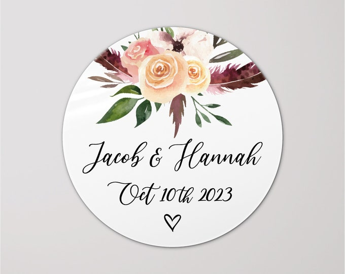 Custom monogram flower stickers wedding envelope stickers, Custom favor sticker, Envelope circle stickers, Gift bag sticker