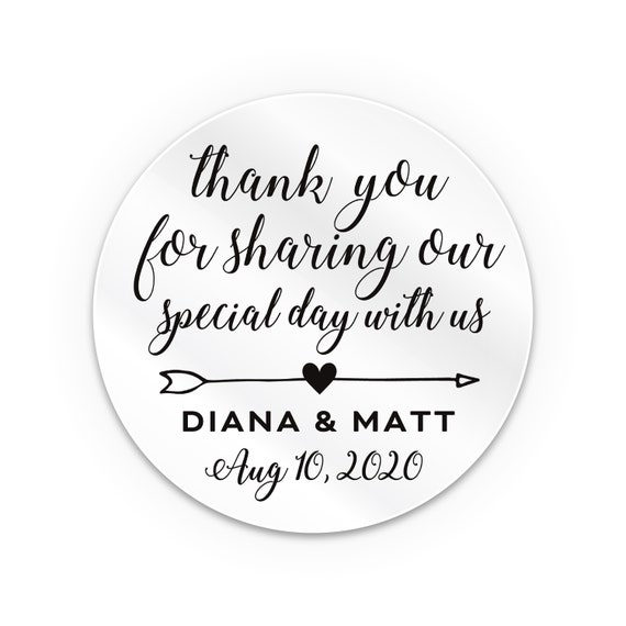 Transparent personalised stickers pack, Bridal shower favors, Thank you stickers, Labels for handmade items, Wedding favor labels for jars