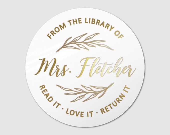 Custom book lover gift for her teacher name stickers sheet, Personalized sticker sheet, Book club decal, Round teacher stickers