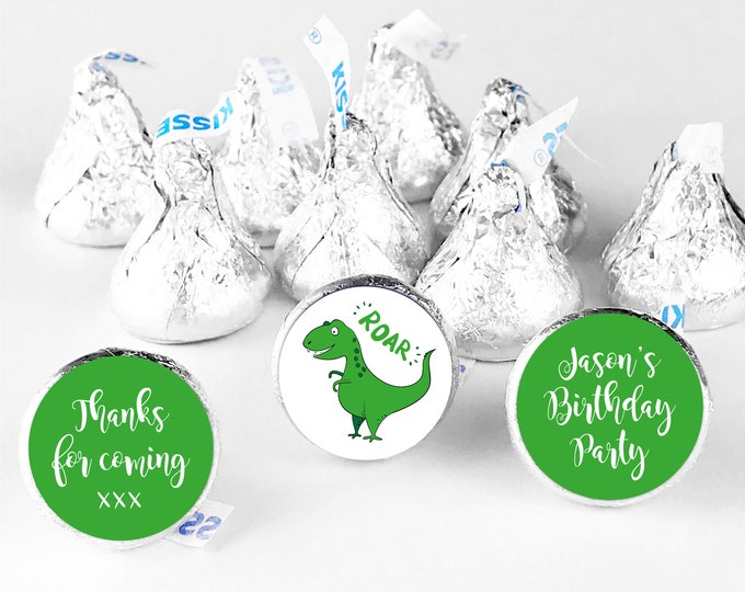 Custom dinosaur happy birthday party thank you stickers, Personalised hershey kiss labels, Thank you for coming to my party stickers