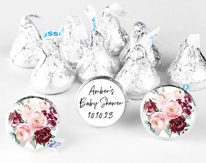 Baby shower custom circle thank you favors stickers labels, Hershey kisses sticker, Round Baby shower stickers