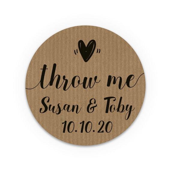 Personalised confetti sticker kraft confetti stickers rustic, Custom confetti stickers, Throw me labels, Wedding stickers for favors
