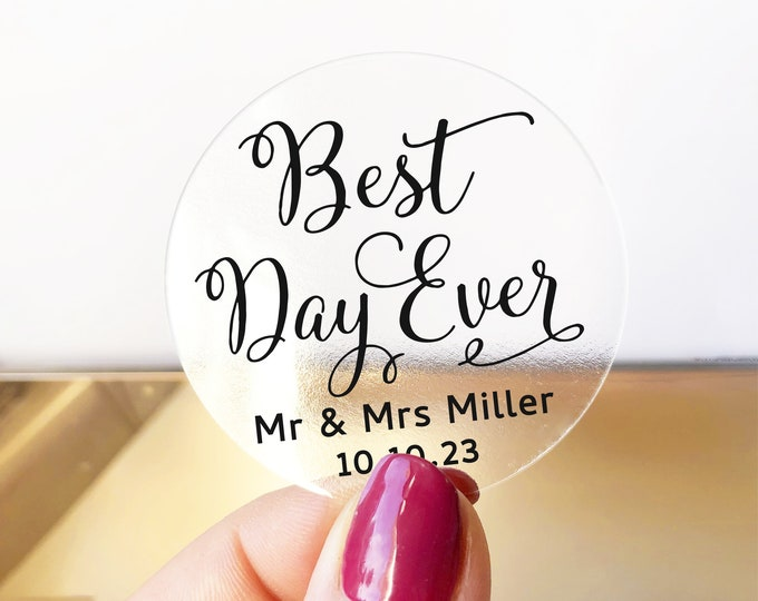 Custom wedding favors thank you clear labels stickers, Best days ever wedding stickers, Personalized wedding welcome bag stickers