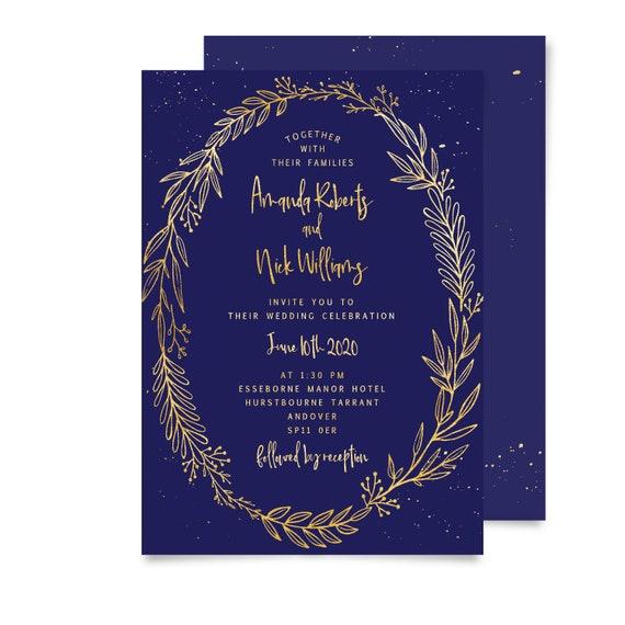Wedding invitations template, Rustic wedding invitations printable wedding invite, Navy and Gold, Grey, Royal blue, Mint, Rustic,  UK