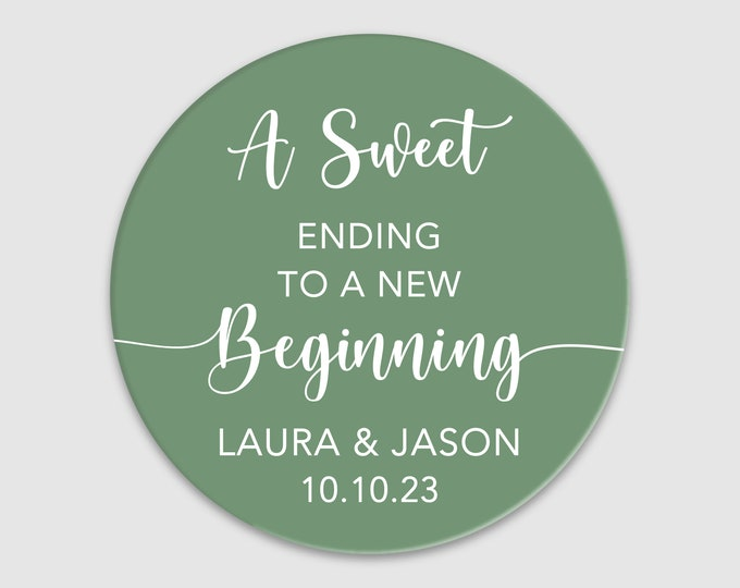 Custom wedding favor gifts thank you round stickers, A sweet ending to a new beginning stickers