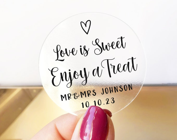 Love Is sweet wedding thank you favor clear labels stickers, Personalized 2 inch sticker, Round favor stickers, Custom name stickers