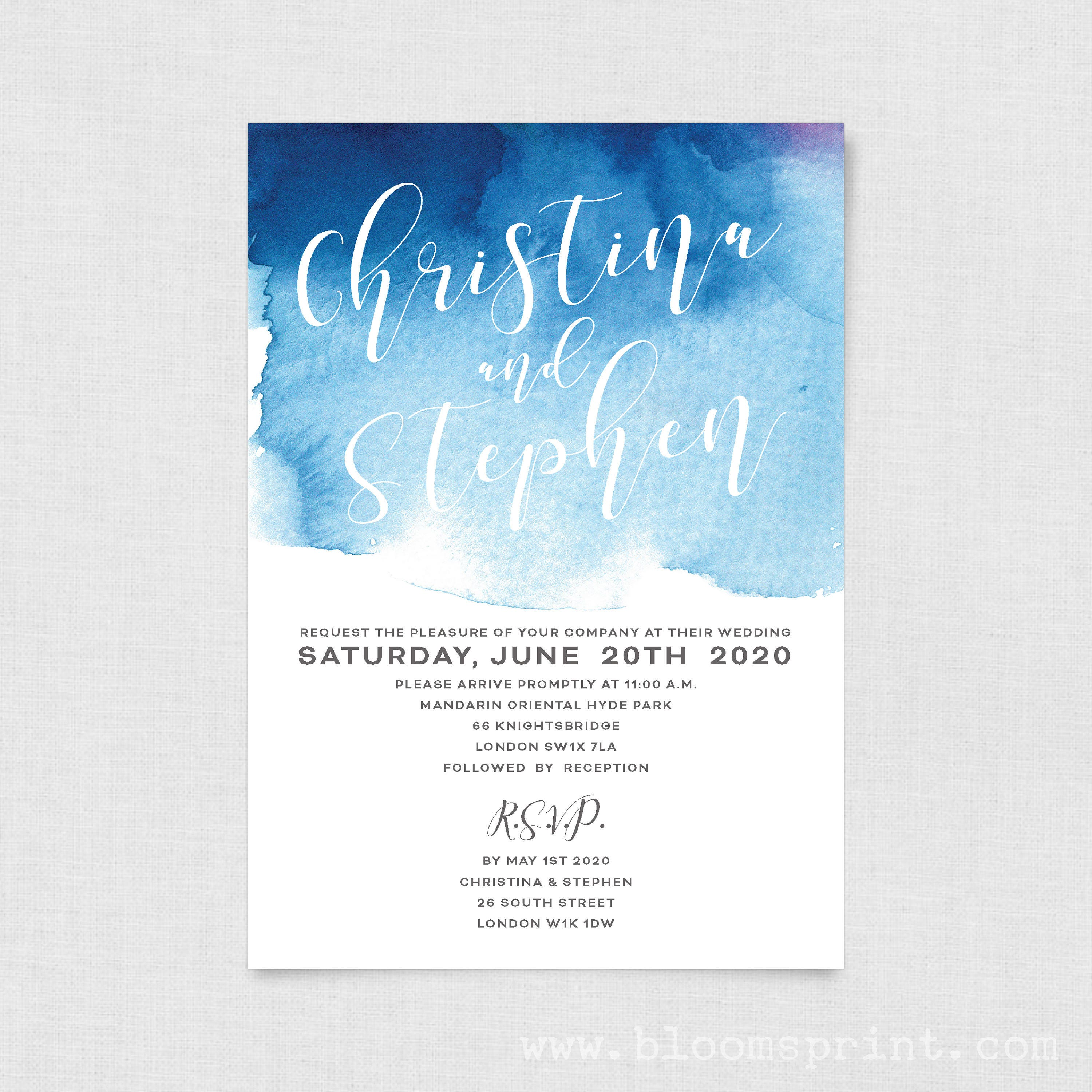 watercolor wedding invitation template simple wedding invitation set calligraphy wedding invitation engagement invites navy blue pink a5