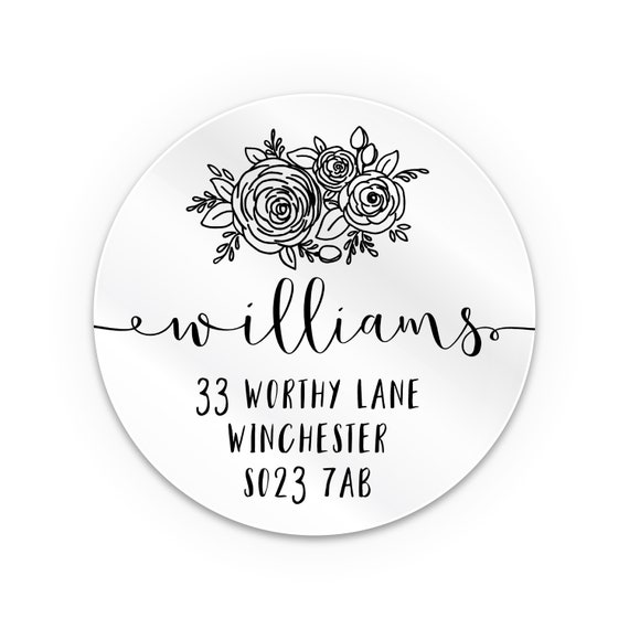 Clear return address labels, Personalised transparent sticker labels round, Personalized sticker labels, Custom sticker labels for envelopes