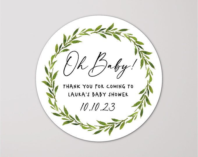 Thank you for coming to my baby shower stickers, Baby shower labels, Personalised party favor stickers, Mason jar Kraft sticker - BS13