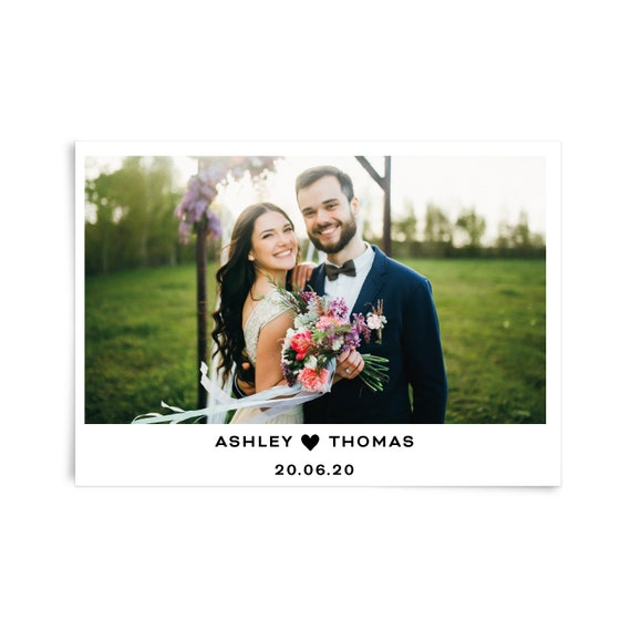 Personalised wedding thank you card, Custom photo thank you card, Wedding thank you card template photo, Thank you flat card, Stationary set