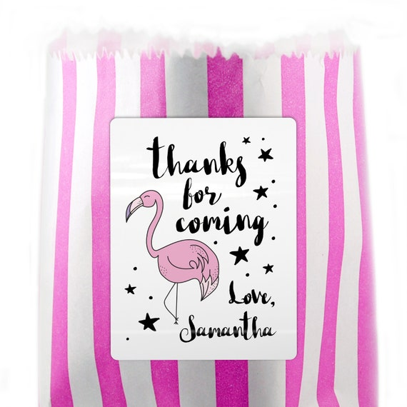 Flamingo birthday party stickers, Thank you for coming to my party stickers for party favor bags, Birthday party labels stickers for parties