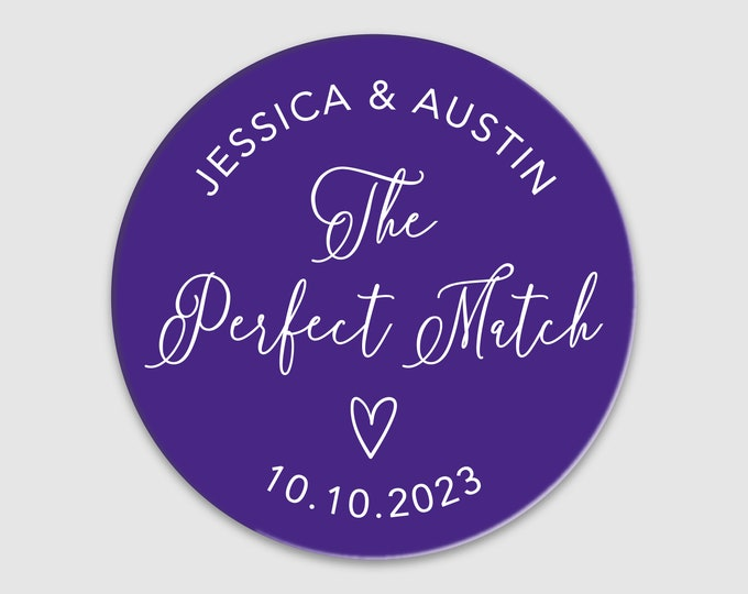 The perfect match personalized wedding stickers, A perfect match wedding labels, Custom favor labels, DIY wedding favors