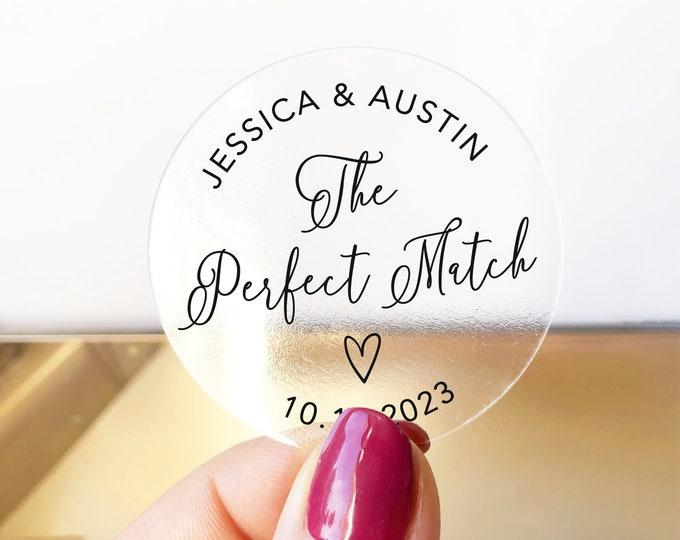 Perfect match jar wedding clear labels stickers sheet, Custom name stickers, Custom wedding matches favor stickers
