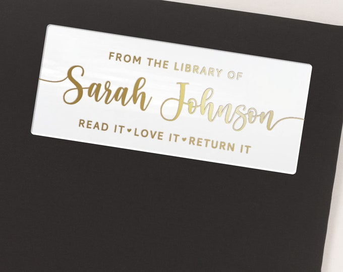 Custom book club lover gift for teacher clear stickers labels, Personalized name stickers, Teacher stickers  - 30 Stickers per Sheet