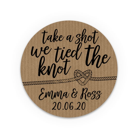 Wedding favours stickers stickers and labels, We tied the knot stickers, Wedding take a shot stickers, Rustic Favor Sticker
