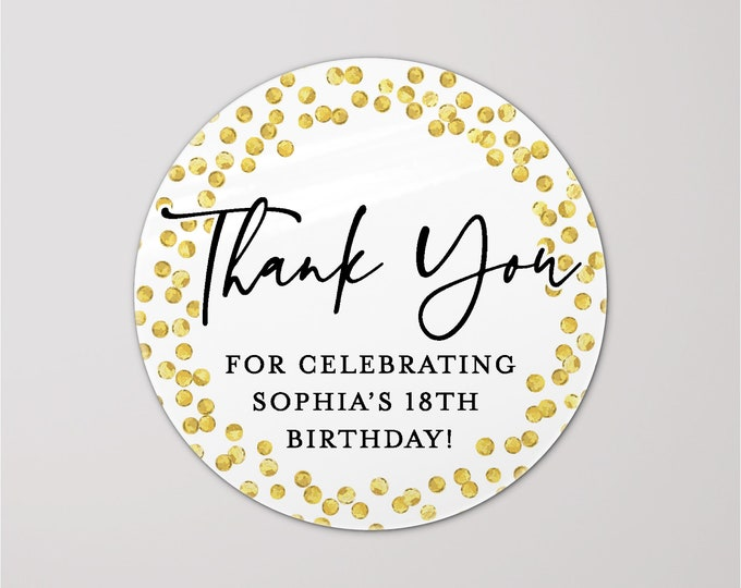 Gift bag thank you cute birthday party stickers, Custom happy birthday sticker, Party favor thank you for coming to my party stickers